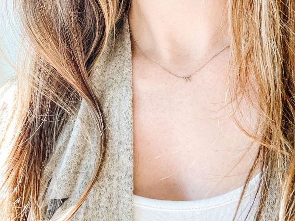 """Letter """"K"""" Necklace in White Gold"""